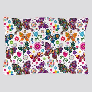 Colorful Retro Butterflies And Flowers Pillow Case