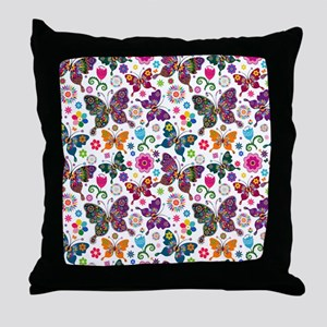 Colorful Retro Butterflies And Flower Throw Pillow