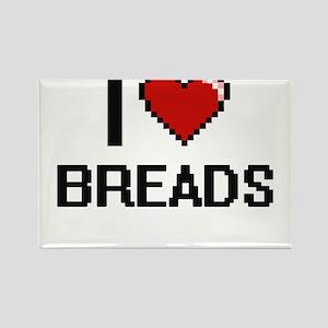 I Love Breads digital retro design Magnets