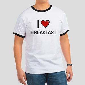 I Love Breakfast digital retro design T-Shirt