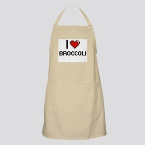 I Love Broccoli digital retro design Apron
