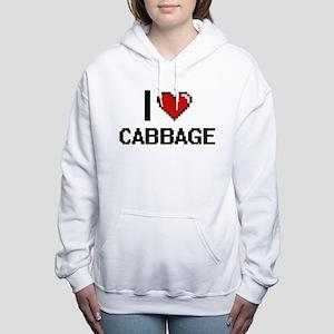 I Love Cabbage digital r Women's Hooded Sweatshirt