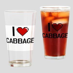 I Love Cabbage digital retro design Drinking Glass