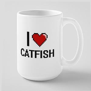 I Love Catfish digital retro design Mugs