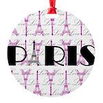Pink Black Paris Script Ornament
