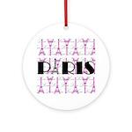 Pink Black Paris Script Ornament (Round)