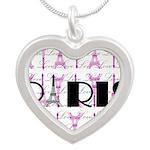 Pink Black Paris Script Necklaces