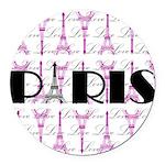 Pink Black Paris Script Round Car Magnet