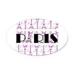 Pink Black Paris Script Oval Car Magnet
