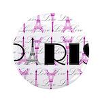 Pink Black Paris Script Button