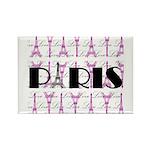 Pink Black Paris Script Magnets