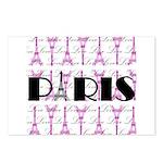 Pink Black Paris Script Postcards (Package of 8)