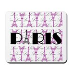 Pink Black Paris Script Mousepad