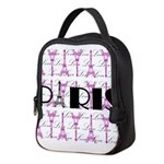 Pink Black Paris Script Neoprene Lunch Bag