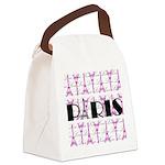 Pink Black Paris Script Canvas Lunch Bag