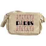 Pink Black Paris Script Messenger Bag