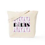 Pink Black Paris Script Tote Bag