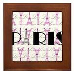 Pink Black Paris Script Framed Tile