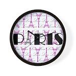 Pink Black Paris Script Wall Clock
