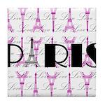 Pink Black Paris Script Tile Coaster