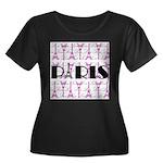 Pink Black Paris Script Plus Size T-Shirt