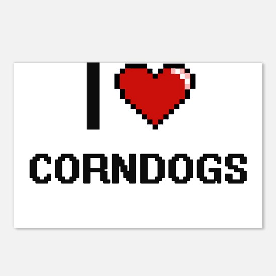 I Love Corndogs digital r Postcards (Package of 8)