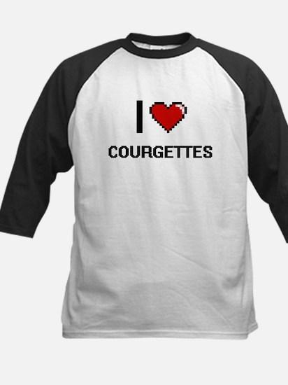 I Love Courgettes digital retro de Baseball Jersey