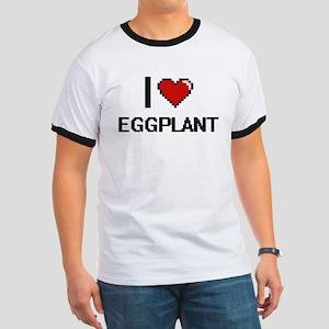 I Love Eggplant digital retro design T-Shirt