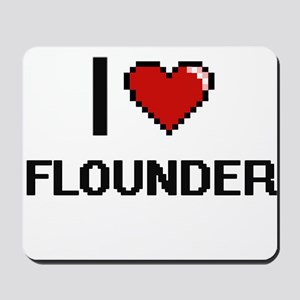I Love Flounder digital retro design Mousepad