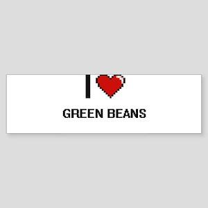 I Love Green Beans digital retro de Bumper Sticker