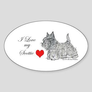 Scottie Graphic Art Oval Sticker