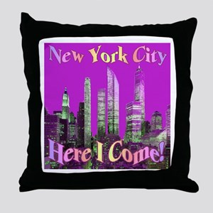 New York City Here I Come! Throw Pillow