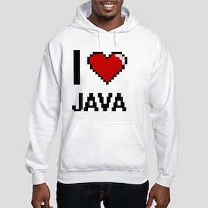 I Love Java digital retro design Hooded Sweatshirt