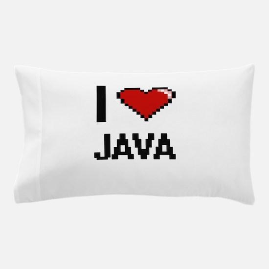 I Love Java digital retro design Pillow Case