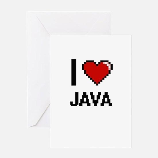 I Love Java digital retro design Greeting Cards