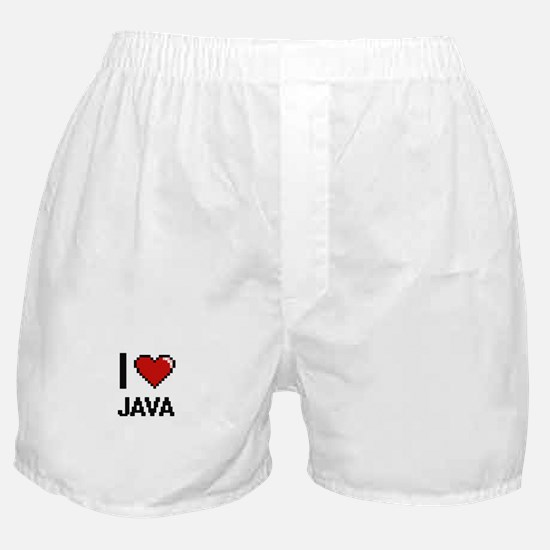 I Love Java digital retro design Boxer Shorts