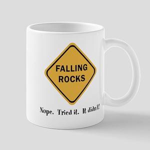Falling Rocks Clever Road Sign Joke Mug