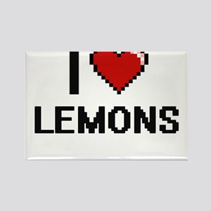 I Love Lemons digital retro design Magnets