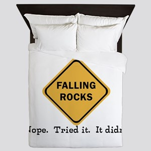 Falling Doesn't Rock, I Tried It Queen Duvet
