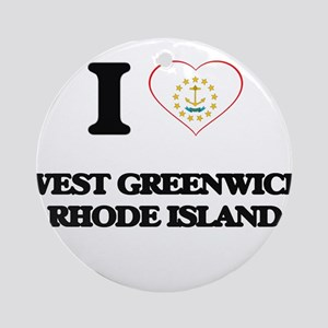 I love West Greenwich Rhode Islan Ornament (Round)