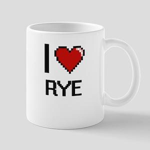 I Love Rye digital retro design Mugs