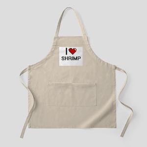 I Love Shrimp digital retro design Apron