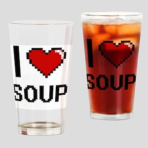 I Love Soup digital retro design Drinking Glass