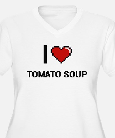 I Love Tomato Soup digital retro Plus Size T-Shirt