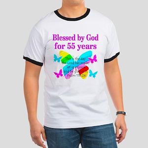BLESSED 55 YR OLD Ringer T