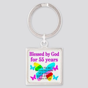 BLESSED 55 YR OLD Square Keychain