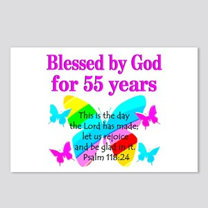 BLESSED 55 YR OLD Postcards (Package of 8)