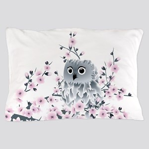 Cute Owl and Cherry Blossoms Pillow Case
