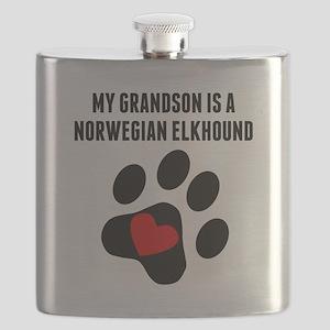 My Grandson Is A Norwegian Elkhound Flask