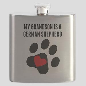 My Grandson Is A German Shepherd Flask